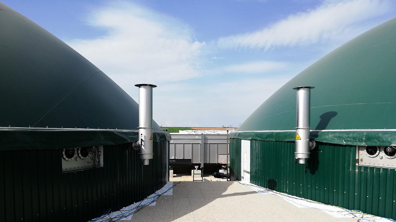 Unité de méthanisation à Marlenheim : les déchets d'abattoirs non utilisés sont transformés en biométhane de haute qualité.